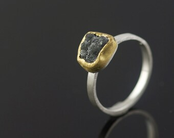 Engagement Ring Rough Diamond in 22k Recycled Gold Eco Friendly Metal