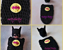 Batman Baby girl handmade crochet Set Hat and cocoon 0 to 12months