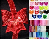 Big Sequin Bow Elastic Headband Your Choice of Color Neon Pink Green Yellow Silver Red Black Rainbow Gold Turquoise