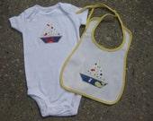 Nautical baby gift sailboat onesie bodysuit and bib