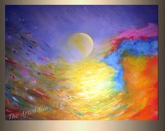 Large original abstract painting contemporary art metallic acrylic modern fine art Title: Summer by Carol Lee aka Leearte