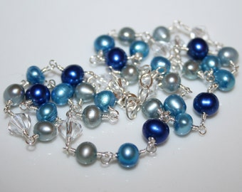 a break in the clouds blue and silver freshwater pearl and sterling silver neclace