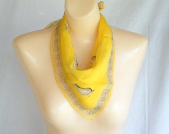 Vintage Scarf Chiffon Scarf Yellow Grecian Urn Pottery Archaeology Summer Fashion