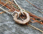 Hand Cast Bronze Circle with Sterling Silver Chain