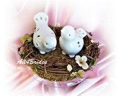 Bird nest love bird wedding cake topper, rustic, garden, woodland wedding cake topper