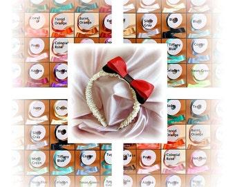 Weddings flower girl headband, custom satin ribbons, flower girl hair accessories.