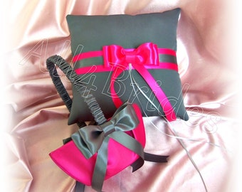 Hot pink and dark grey wedding ring pillow and flower girl basket, weddings decorations ring cushion and basket set.
