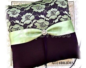 Wedding, lace ring bearer pillow eggplant purple and sage green, deep purple and green wedding ring cushion