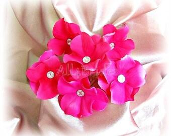 Hot pink hair flower pins, set of 6 hydrangea flowers