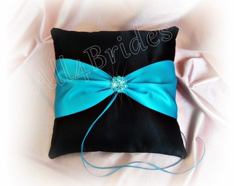 Turquoise and Black wedding ring bearer pillow - Malibu blue ring cushion - turquoise and black wedding accessories