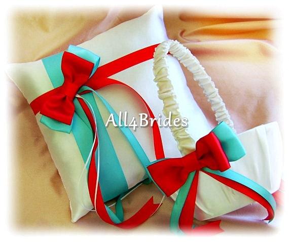 Aqua Blue and Red Wedding Flower Girl Basket and Ring Bearer Pillow Set, Weddings Ceremony Decor