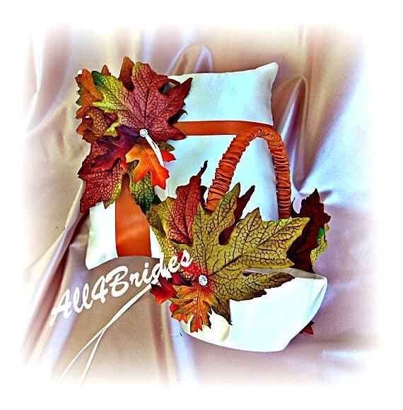 Flower Girl Baskets Fall : Items similar to fall leaves wedding ring bearer pillow