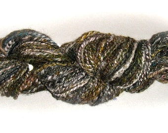 Woodsy-Green & Natural Fibers 2-Ply Textured Yarn for Knitting, Crochet, Weaving or Felting 3.6 oz.  - 415