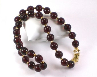Gold Cranberry Red Lucite Beaded Necklace Vintage Jewelry