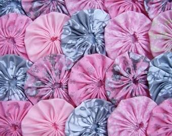 Fabric FLOWER Applique 2 Inch  40 GRAY Pink Headband Bobby Pin Barrette Hair Clip Trim