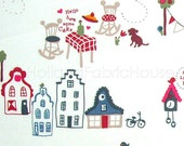 Cotton fabric, kids fabric, houses fabric, Amsterdam fabric, Dutch fabric, Home Sweet Home Fabric