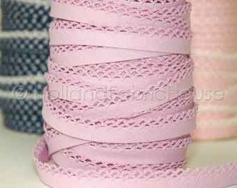 Bias Tape Lilac Solid Cotton and Lace - Double Fold