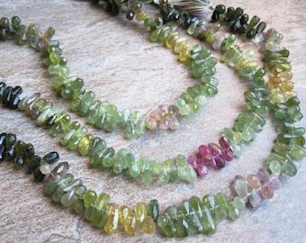Watermelon Tourmaline Briolettes Beads, Faceted Teardrops Briolettes, Multi Color Gemstone, Weddings, Brides Bridal, SKU 1483A