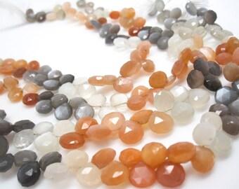 Rainbow Moonstone Briolettes, Peach Moonstone Bead, Drops, Multi Color Moonstone, Gray Moonstone, White Moonstone, SKU 3666