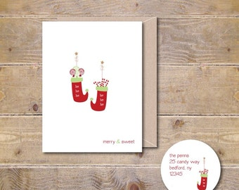 Christmas Cards . Holiday Cards . Stocking Christmas Cards - Merry & Sweet