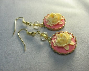 rose cameo earrings ... pretty Victorian style rose cameo earrings in pink and cream