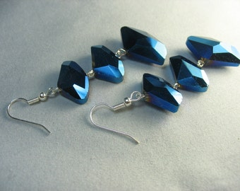 blue spacey abstract glass crystal earrings ... beams on a wire