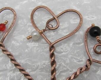 Copper Shawl Hair Stick Pins.  Heart Stick Pins. Copper Fibula. Shawls Closures.