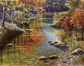 Autumn Creek Watercolor Painting Print 16x21 by Cathy Hillegas, autumn trees, reflections, red, orange, yellow, green, blue, brown