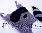 PDF Sewing Pattern Raccoon Stuffed Animal