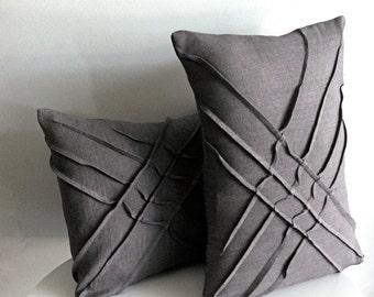 x-pleat accent pillow - grey linen - WITH INSERT - textured pillow