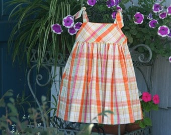 Handmade Bright cheerful girls dress  in citrus colors.  Available in size T..2T..3T..4T..5