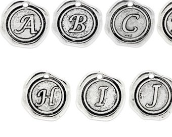 The Whole Alphabet Letter Charms, Wax Seal Charms, silver or gold, pack of 26, 5228