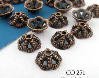 Small Antique Copper Bead Cap Antiqued Copper Bead Cap 8mm (CO 251) 20 pcs BlueEchoBeads