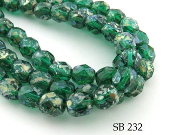 6mm Green Picasso Faceted Fire Polished Czech Glass Beads (SB 232) 25 pcs BlueEchoBeads