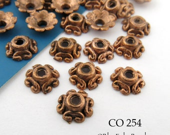 Antique Copper Bead Cap Small Antiqued Copper Bead Cap 7mm (CO 254) 36 pcs
