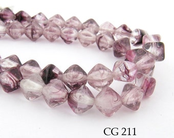 6mm Pink Czech Bicone Beads  (CG 211) 25 pcs BlueEchoBeads
