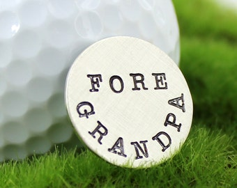 Golf Ball Marker or Pocket Token - Fore Grandpa hand stamped sterling silver