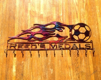 Soccer Ball with Flames and Custom Text Box and 12 Hooks  (H20)