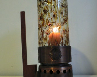 Danish modern hurricane candle holder / vintage 1950s candle holder / mid century copper wood glass candle holder