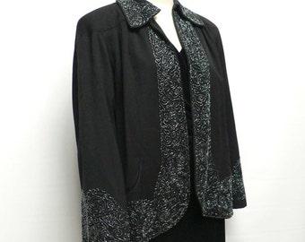 vintage 1940s short flared beaded swing coat / 1940s glass bead jacket / film noir jacket/ 40s short wool coat