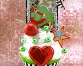 """Zombie Pin Up Girl Fake Cupcake Decor """"Cupcakes Make Zombies Sweeter! Collection"""" Rockabilly Tattoo Decor Fab Birthday Gift"""