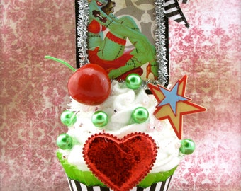 "Zombie Pin Up Girl Fake Cupcake Decor ""Cupcakes Make Zombies Sweeter! Collection"" Rockabilly Tattoo Decor Fab Birthday Gift"