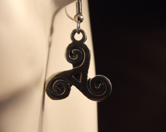 Celtic Knot, triskel, earings made with Australian Pewter and  Sugical Steel hook