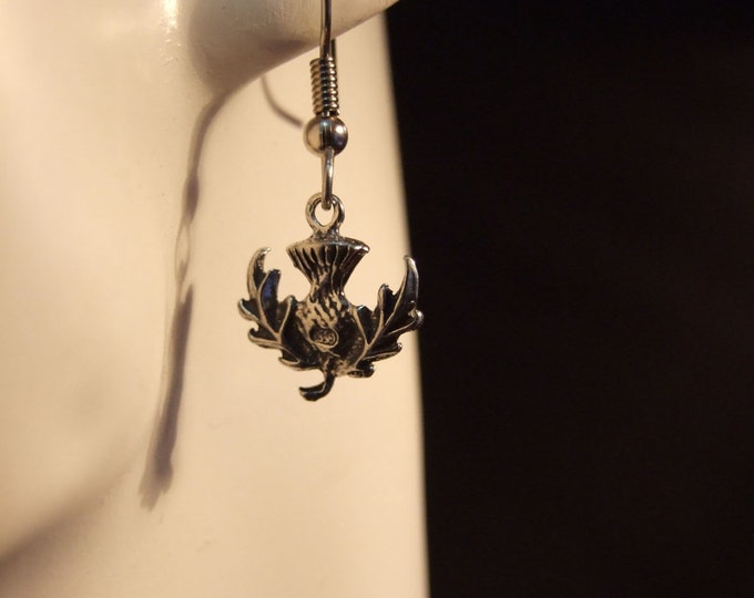 Thistle earrings made with Australian Pewter and Surgical Steel hook