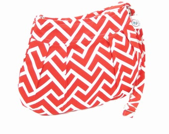 Organic Handmade Little Sophisticate Cross Body Sling Purse  Coral Zigzag Chevron - Free Shipping