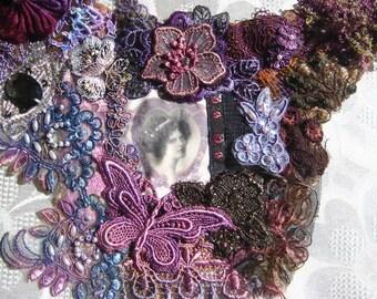 Embellished lace bib necklace