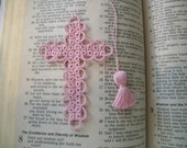 Cross Bookmark Tatted Pink Lace Tatting  FREE SHIPPING