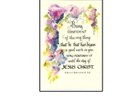 Watercolor Christian Greeting Card in Calligraphy with flowers