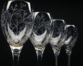 Four Wine Glasses 'Branches & Leaves' Hand Engraved Wedding Gift Bridal Party Crystal Glass Spring Stemware