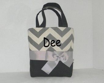 Black /  grey  Chevron  Monogrammed/Personalized Tote, Purse, Bridesmaid Gift, Flower Girl, MOB, MOG,Cheer Squad, Brownie